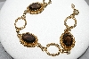"MBA #96-105 ""Vintage Gold-Filled  Smokey Glass Stone Bracelet"""