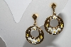 "MBA #96-293 ""ART Antiqued Goldtone Hand Enameled Flower Clip On Earrings"""