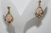 "+MBA #96-076  ""Vintage Goldtone Porcelain Rose Pierced Earrings"""