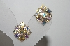 "MBA #96-051 ""Vintage Goldtone AB Rhinestone Clip On Earrings"""