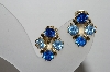 "MBA #96-046  ""Vintage Goldtone Two Shades Of Blue Rhinestone Clip On Earrings"""