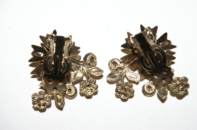 "MBA #96-062  ""Vintage Goldtone Yellow Rhinestone & Cabochon Clip On Earrings"""