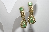 "MBA #96-099  ""Vintage Goldtone Green & Clear Rhinestone Clip On Earrings"""