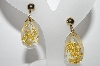 "+MBA #96-111 ""Vintage Goldtone Acrylic Gold Flake Screw Back Earrings"""