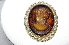 "MBA #96-020  ""Vintage Goldtone Beautiful Smokey Glass Cameo Pin/Pendant"""