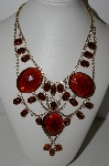 "**MBA #96-087   ""Husar' D Tarnished Unfinished Lucite & Glass Stone Necklace"""
