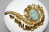 "+MBA #96-135 ""Vintage Goldtone Faux Turquoise Large Feather Brooch"""