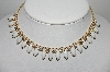 "MBA #96-011 ""Vintage Goldtone Milk Glass Navette & AB Rhinestone Collar Necklace"""