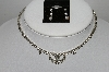 "MBA #96-113 ""Vintage Silvertone Clear Rhinestone Necklace & Pierced Earrings Combo"""