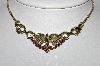 "MBA #96-044 ""Made In Germany Goldtone Purple Rhinestone Necklace"""