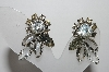 "MBA #96-060   ""Vintage Silvertone Grey & Clear Rhinestone Clip On Earrings"""