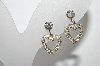 "+MBA #96-007   ""Weiss Silvertone Small Heart Rhinestone Screw Back Earrings"""