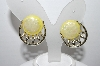 "+MBA #96-040  ""Vintage Goldtone Yellow Lucite Clip On Earrings"""