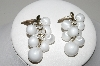 "+MBA #94-012  ""Vintage Goldtone White Plastic Grape Cluster Pierced Earrings"""
