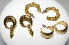 "MBA #94-089  ""Vintage 3 Pairs Of Goldtone Pierced Earrings"""