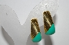 "+MBA #94-142  ""Vintage Goldtone & Green Enamel Clip On Earrings"""