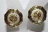 "+MBA #94-150  ""Vintage Fancy Goldtone Sun Face Clip On Earrings"""
