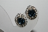 "MBA #94-212  ""Vintage Silvertone Austrian Crystal Oval Clip On Earrings"""