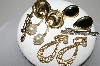 "**MBA #94-275   ""Vintage Lot Of 3 Pairs Of Earrings & 2 Pins"""