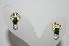 "MBA #94-198  ""Vintage Goldtone Green & Clear Crystal Rhinestone Pierced Earrings"""