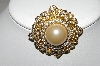 "+MBA #94-364  ""Vintage Gold Plated  Faux Pearl & Clear Crystal Rhinestone Brooch"""