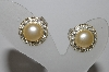 "MBA #94-113  ""Vintage Silvertone Faux Pearl & Rhinestone Clip On Earrings"""