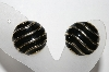 "+MBA #94-149  ""Vintage Goldtone Black Enameled Clip On Earrings"""
