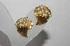 "MBA #94-085  ""Trifari Goldtone Faux Pearl & Rhinestone Clip On Earrings"