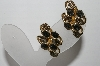 "MBA #94-044  ""Vintage Gold Plated Fancy Clip On Earrings"""