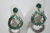 "+MBA #94-180  ""Vintage Goldtone Green Enameled Pierced Earrings"""