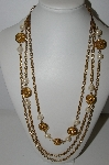 "MBA #94-055  ""Casual Cornor Goldtone Faux Pearl Three Stand Necklace"""