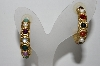"+MBA #94-075  ""Vintage Goldtone Multi Colored Stone Hoop Style Pierced Earrings"""