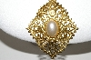 "MBA #94-098  ""Express Goldtone Faux Pearl Pendant With 36"" Chain"""
