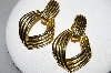 "+MBA #94-077  ""Vintage Goldtone Large Hinged Clip On Earrings"""