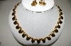 "**MBA #94-374  ""Vintage Goldtone Linked Necklace & Matching Clip On Earring Set"""