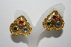 "MBA #94-014  ""Vintage Goldtone Multi Colored Stone Upside Down Heart Shaped Pierced Earrings"""