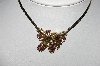 "MBA #94-330  ""Vintage Goldtone Purple Rhinestone Acorn Necklace"""