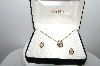 "MBA #94-105  ""Giana Gold Plated Crystal Pendant & Pierced Earring Set"""