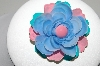 """HOLD""  +MBA #94-361  ""Vintage Pink, Blue & Green Enameled Flower Pin"""