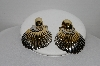 "+MBA #94-009  ""Vintage Two Tone Multi Layered Shell Clip On Earrings"""