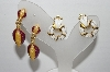 "MBA #93-038 ""Vintage Lot Of 2 Pairs Of Goldtone Enameled Clip On Earrings"""