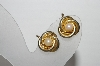 "+MBA #93-124  ""Vintage Gold Plated Pearl Clip Back Earrings"""