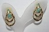 "MBA #93-032  ""Vintage Goldtone Enameled Pierced Earrings"""