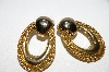 "+MBA #93-005  ""Vintage Goldtone Mesh Look Pierced Earrings"""