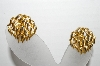 "+MBA #93-160  ""Vintage Goldtone Flame Look Clip On Earrings"""