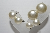 "MBA #93-025 ""Vintage Lot Of 3 Pairs Of Faux Pearl Clip On Earrings"""