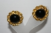"+MBA #93-055  ""Vintage Goldtone BLack Center Stone Clip On Earrings"""
