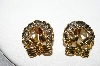 "+MBA #93-007  ""Vintage Goldtone Fancy Wreath With Bow Clip On Earrings"""