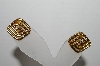 "MBA #93-036  ""Monet Goldtone Square Clip On Earrings"""