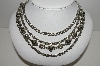 MBA #93-035  Beautiful Vintage Silvertone Layered Necklace""